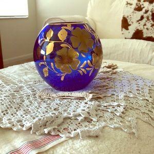 Vintage Crazy Beautiful Cobalt & Gold Orb/vase